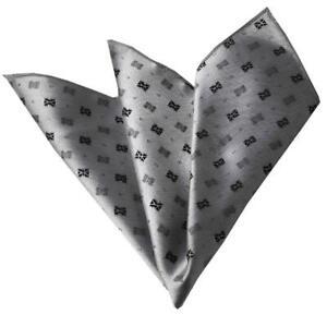 Celino Gray Metalic Paisley Pocket Square for Men Silk Handkerchiefs for Suits