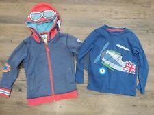 Boys Mini Boden Zip Up Aviator Hoodie & Long Sleeve Plane Shirt Blue 5/6