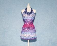 DAZZLING Blue Pink Purple Abstract Print Genuine BARBIE Sleeveless Short Dress