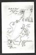 Map postcard HMS Kent Java Philippines China Navy 1932