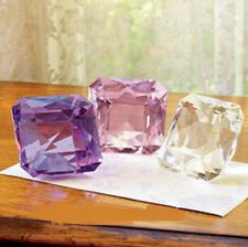 LARGE LEAD CRYSTAL PAPERWEIGHT SQUARE CUT PINK huge!  NEW IN BOX reg $30.00
