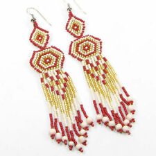 Fashion Native Style Inspired Hook Earrings New Women Red Gold Glass Beaded