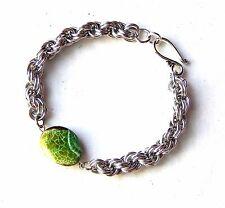 "Green Dragon Vein Agate stone Double Spiral Chain Chain Mail Bracelet  8"""