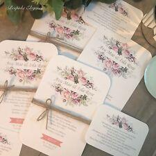Personalised Handmade Floral Rustic Christening Wedding Birthday Invitations