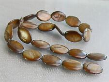 Brown Mother of Pearl Shell Beads Strand Flat Oval 23B