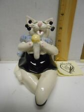 Cat Figurine Annaco Creations Whimsiclay Margie Singer Microphone Amy Lacombe