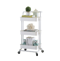 3-Tier Metal Rolling Utility Cart Mobile Storage Organizer Holder Trolley Cart