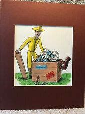 Curious George & The Man With The Yellow Hat~8 x 10 Mat Print~A New Blue Bike