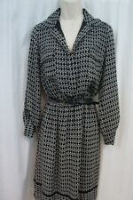 Studio M Dress Sz S Black Ivory Printed 3/4 Sleeve Belted Evening Dinner Dress