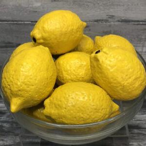 Vintage Lot of 10 Ceramic Yellow Lemons Heavy Life-Size Faux Very Life-Like