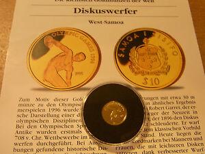 1995 Samoa 10 $ Gold 999/1000  DISKUSWERFER Proof COA
