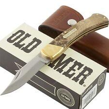 SCH6OTW Schrade GOLDEN BEAR Desert Ironwood Handle Carbon Blade Leather Sheath