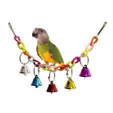 Pet Chew Bite Rope Bell Parakeet Budgie Parrot Bird Hanging Swing Bed Cage EA7C