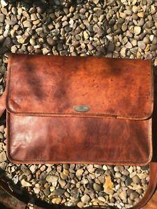"""Adult Men's Women's Briefcase Genuine Leather Shoulder Messenger 18"""" Laptop Bag"""