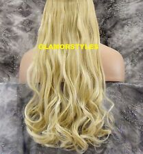 """17"""" BLONDE #613 FLIP IN SECRET CLEAR WIRE HAIR PIECE EXTENSIONS NO CLIP IN/ON"""