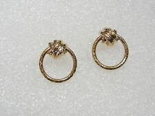 14K YELLOW GOLD KNOT HOOP PIERCED EARRINGS N301-A