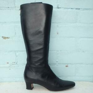 Hobbs Leather Boots Size UK 6 Eur 39 Womens Shoes Zip up Back Black Boots