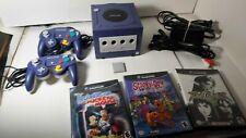 Nintendo GameCube Indigo Purple DOL-001 Console + Games + Controllers *TESTED*