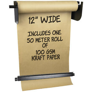 """Wall Mounted Kraft Paper Dispenser & Cutter: with Kraft Paper Roll (8"""" Wide)"""