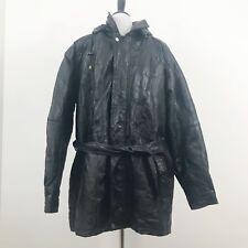 Vilanto Black Leather Mens Coat Jacket Size Large Fleece Lining Belt Patchwork