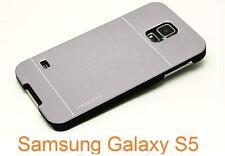 Coque Etui Housse Case Aluminium Brossé Argent Silver pour Samsung Galaxy S5