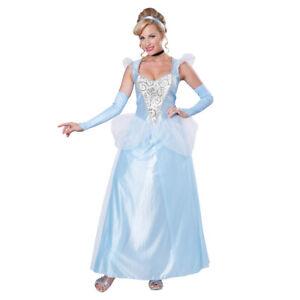 Classic Cinderella Womens Costume Disney Princess Fairy Tale Blue Gown Adult