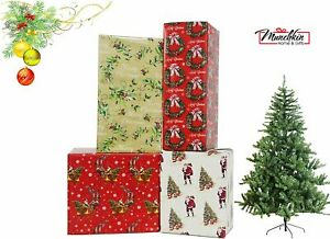 4 x 8M Rolls Of Traditional Christmas Gift Wrapping Paper Holly Santa Tree