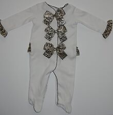 Elegant Comfy and soft Footed Pajamas with stylish bow/girls 3 Months (0-12 Lbs)