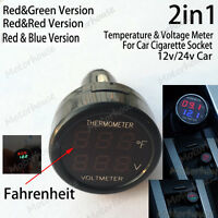 2in1 DC 12V 24V Auto Car Cigarette Lighter Digital ℉ Temperature Voltage Meter