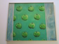 LARGE POP ART PAINTING 1970'S SIGNED RF APPLES EXPRESSIONISM MYSTERY ARTIST VNTG