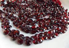 """4"""" AAA MOZAMBIQUE GARNET faceted heart briolette gem stone beads 6mm - 7mm"""