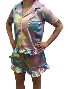 NEW 3 Piece Boohoo Ladies & Girls Rainbow Satin Shorts Top Pyjamas Pjs Matching