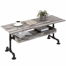 MyGift 2 Tier Industrial Black Metal Pipe and Rustic Torched Wood Coffee Table