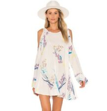 NWT Free People Clear Skies Printed Cold Shoulder Tunic/Mini Dress Neutral  S