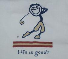 Medium Men's Life Is Good Jake Golf Swing White Ls Crusher Tee