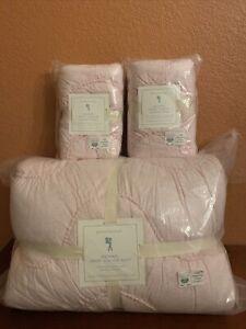Pottery Barn Kids Organic Jersey Scalloped Full Queen Quilt 2 Standard Sham Pink