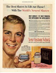 1950 ORIGINAL VINTAGE SCHICK ELECTRIC SHAVER MAGAZINE AD