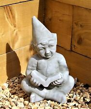 Large Pixie Elf Fairy Garden Ceramic Ornament Figure  Reading a Book