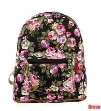 """Canvas Backpack >> Rucksack Rose Floral Black 12"""""""