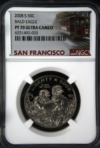 :2008-S 50C Bals Eagle Commemorative Half NGC PF 70 UCAM Ultra Cameo Top-Pop