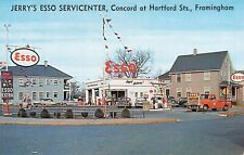 Framingham MA Jerry's Esso Gas Station Old Cars Truck Postcard