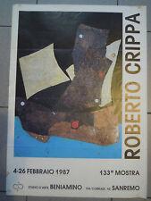 """POSTER 1987 MOSTRA DEL PITTORE """" ROBERTO CRIPPA """" STUDIO D'ARTE BENIAMINO  *MAN"""