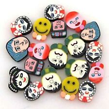 60pcs Wholesale New Mixed Colorful Oblate Head FIMO Polymer Clay Bead 15mm JJ