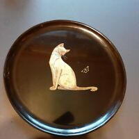 Couroc Of Monterey Round Platter Siamese Cat And Butterfly