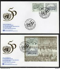 ✔️ UN UNITED NATIONS FDC 2 EXCELLENT COVERS 50 ANNIVERSARY OF THE UN