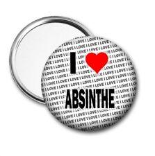 I Love Absinthe Poche / Miroir de Sac à Main - Cadeau - Anniversaire - Petit