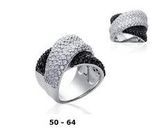 Grosse Bague Rhodié T50 - 64 Pavé Diamant Cz Black White Argent 925 Dolly-Bijoux