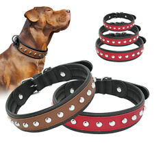 Studded Dog Collar Leather Heavy Duty Adjustable Medium Large German Shepherd XL