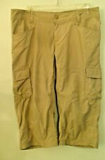 "WOMENS COLUMBIA TAN OMNI SHADE CAPRIS SIZE 10 34"" WAIST 18 INSEAM 6 POCKET POLY"