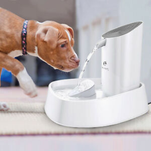 Pet Auto Water Drinking Fountain Pet Dog Cat Electric Water Bowl w/ Filter + LED